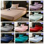 100% Cotton Floral Striped Soft Fitted Sheets King Queen Size Bedding Sets NEW