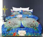 Stunning PEACOCK Blue Green - Appliqued Quilt Cover Set - QUEEN KING