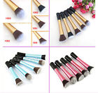 NEW Blue/Pink/Gold Flat Top Foundation/Angled Blusher/Face Powder Makeup Brushes