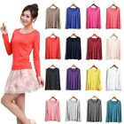 Candy Color Women's Sexy Modal Soft Crew Neck Long Sleeve Basic Tee T-shirt Tops
