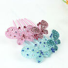 New Fashion Girls Double Butterfly Crystal Rhinestone Barrette Hair Pins Comb