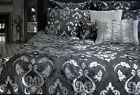 LAUREN Silver Charcoal Black Textured Quilt Cover Set - QUEEN KING Super King