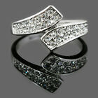 18k White Gold Plate Swarovski Crystal Women Wedding Bridal Engagement Ring R118
