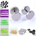 Round Barbell Stainless Steel Screw Back Mens Ear Plug Studs Earrings 6 Colors