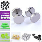 2pcs Stainless Steel Barbell Screw Ear Plug Stud Fake Cheater Stretcher Earrings
