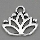 Lovely Lotus Blossom Flower Charms Jewelry Atq Silver Tone Choose Quantity 17x14