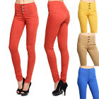 MOGAN 3 Button HIGH WAISTED SKINNY JEANS Colored Washed Denim Slim Pants