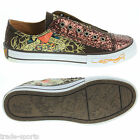 ED HARDY LADIES WOMENS UK SIZE 2.5 - 5.5 BROWN GLITTER SHOES TRAINERS CANVAS NEW