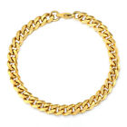 3/5/7/9/11mm Gold Plated Stainless Steel Curb Cuban Link Chain Men Bracelet