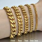 3/5/7/9/11mm Gold Tone Curb Cuban Stainless Steel Mens Chain Bracelet 8-11inch