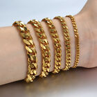 3/5/7/9/11mm Gold Silver Black Curb Cuban Stainless Steel Mens Chain Bracelet