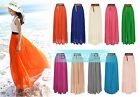 Womens Sexy Lady Chiffon Pleated Retro Maxi Long Dress Elastic Waist Bust Skirt