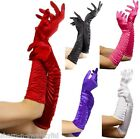 Ladies Black White Red Purple Pink Elbow Length Long Opera Gloves Fancy Dress