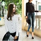 Womens Vintage OL Polka Dot Print Lapel Chiffon Long Sleeve Shirt Blouse Tops