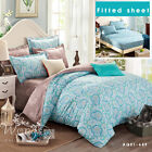 Flower Theme Queen Size Bed Quilt/Doona/Duvet Cover New 100% Cotton Free Postage