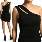 MOGAN Sexy Cut Out One Shoulder RUCHED DRESS Shirred Jersey Party Club wear