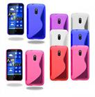 S Line Wave Silicone Gel Skin Case Cover For Nokia Lumia 620 + Screen Protector