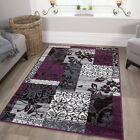 Purple Black Grey Modern Patchwork Rug Soft Milan Living Room Carpet Mat Sale