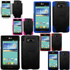 For LG Splendor US730 Advanced KICK STAND Silicone Case Phone cover