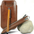 BROWN PULL TAB LEATHER POUCH CASE COVER W/ BIG STYLUS PEN FOR VARIOUS PHONES