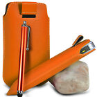 VARIOUS PHONES ORANGE PULL TAB LEATHER POUCH CASE COVER W/ BIG STYLUS PEN