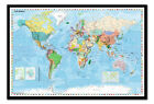 World Map With Flags Pinboard - Large Framed Cork Board With Pins Ready To Hang
