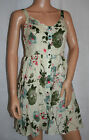 159.MA Green Rose Design Summer Dress New Size 8