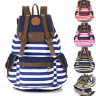 Hot Women Girl Unisex Backpack Canvas Stripe Leisure Bags School bag Rucksack