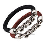 Mens Man-made Leather Rope Bracelet Wristband w/ Stainless Steel Byzantine Chain