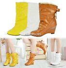 New Style Hot Women Girls Winter Boots Round Toe Shoes Wedge Boots 3 Colors N4U8