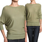 MOGAN Chic 3/4 Dolman Sleeve Round Neck KNIT TOP Casual Slouchy Sweater Tee
