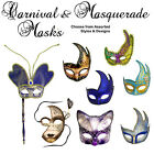 CARNIVAL / MASQUERADE MASK - Assorted Styles & Designs - Stick / Tie-on - NEW