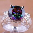 Gorgeou Rainbow & White topaz Gemstone Silver Jewelry Fashion Ring Size 6 7 8 9