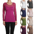 MOGAN Floral LACE Long Sleeve Sweetheart Stretch TEE SHIRTS Casual Evening Top