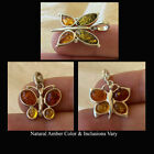 BALTIC HONEY or MULTICOLOR AMBER & STERLING SILVER HANDMADE BUTTERFLY PENDANT