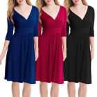 3/4 Sleeves Ruched V-Neck Jersey Flare Cocktail Party Dress co4289