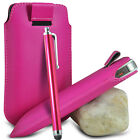 VARIOUS PHONES HOT PINK PULL TAB LEATHER POUCH CASE COVER W/ BIG STYLUS PEN