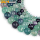 "Natural Stone Round Fluorite Gemstone Beads For Jewelry Making 15"" Rainbow"