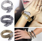 Black/ Silver/Gold Snake Coiled Alloy Bracelet Stretch Rhinestone Crystal Bangle