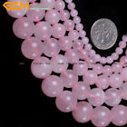 "Natural Smooth Round Pink Rose Quartz Jewelry Making Beads Strand 15"",Size Pick"