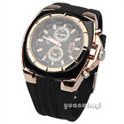 New Men Military Army Gold Plated Black Dial Quartz Sport Silicone Unisex Watch