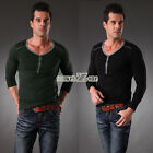 Men Long Sleeve 3 Button Ribbed Top Basic Tee Slim Fit T-Shirt M-XXXL S0BZ New