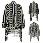 WOMENS KNITTED ZIG ZAG DIAMOND STRIPED LADIES OPEN BOYFRIEND WATERFALL CARDIGAN