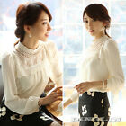 New Women Long Sleeve Sheer Lace Floral Chiffon Casual Tops Blouse Shirt White M