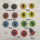 12 PAIR 5mm to 8mm SLIT PUPIL Sew On Plastic Safety Eyes Dragon, Cat, FrogSSPE-1