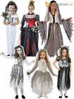 Girls Ghost Zombie Corpse Bride Fancy Dress Up Halloween Book Week Kids Costume