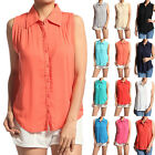 MOGAN Sleeveless Pleated BUTTON FRONT TOP Chic Collared Tank Blouse Shirts