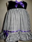Goth Baby Girls Black,White,Purple Check Dress Headband set,Rock,Punk,Gift,Party
