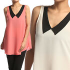 MOGAN Lovely Collar Solid Chiffon Sleeveless BLOUSE Loose Fit Crepe Tank Top
