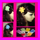 Hair Grips - Chiffon Flowers Bright  Blue Red Pink Green Orange Lilac Yellow -